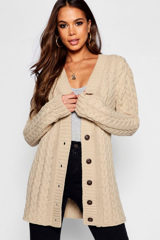 Tall All Over Cable Knitted Cardigan