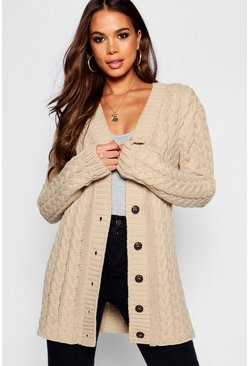 Womens Stone Tall All Over Cable Knitted Cardigan