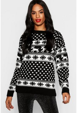 Black Tall Reindeers Christmas Jumper