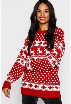 Womens Red Tall Reindeers Christmas Jumper