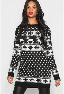 Womens Black Tall Reindeers & Snowman Christmas Sweater Dress