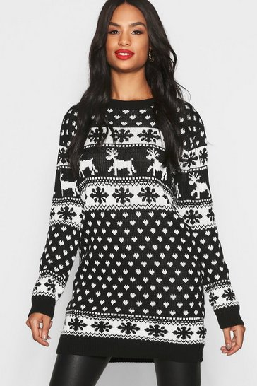 Womens Black Tall Reindeers & Snowman Christmas Jumper Dress