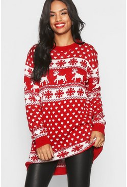 Red Tall Reindeers & Snowman Christmas Jumper Dress