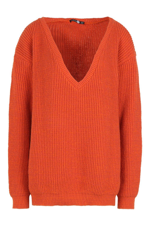 con Jersey Tall naranja cuello V ancho 5qwxZ61qaH