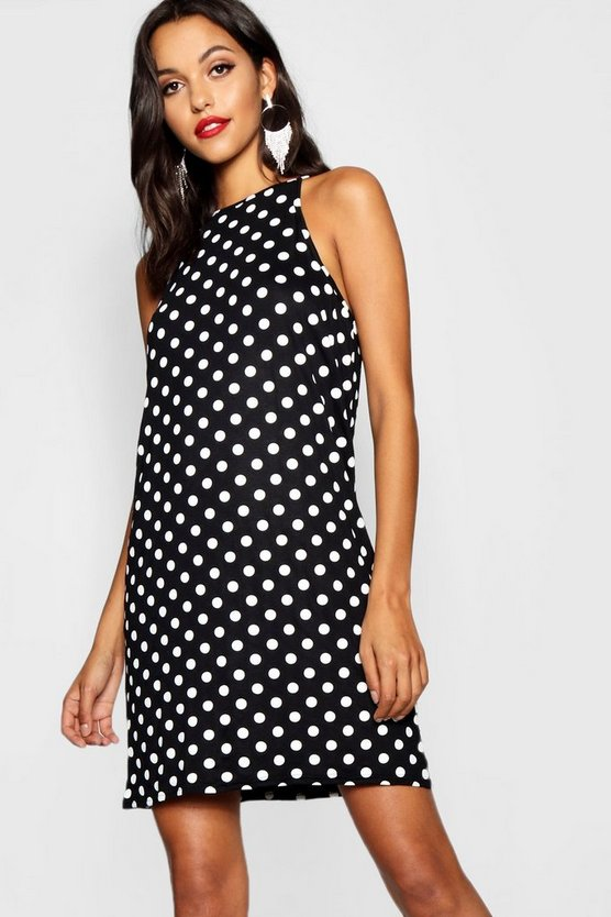 Womens Black Tall Polka Dot Shift Dress