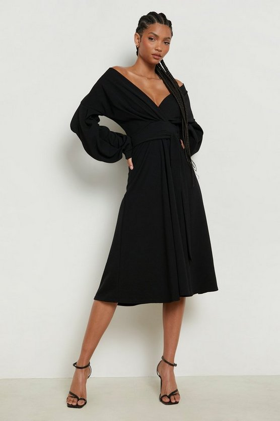 Womens Black Tall Off The Shoulder Blouse