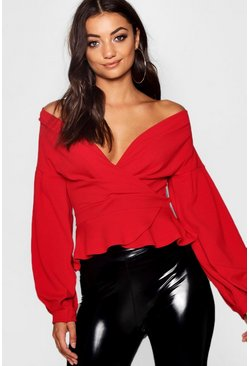 Womens Red Tall Off The Shoulder Blouse