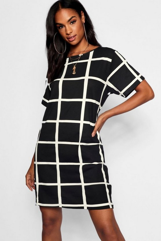Womens Black Tall Grid Print T-Shirt Dress