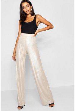 Womens Champagne Tall Metallic Wide Leg Trousers