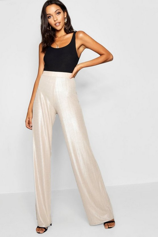 Tall Metallic Wide Leg Trousers