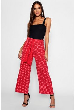 Womens Red Tall Belted Polka Dot Culotte