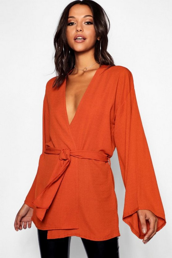Womens Rust Tall Textured Woven Belted Kimono