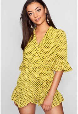 Womens Mustard Tall Polka Dot Ruffle Playsuit
