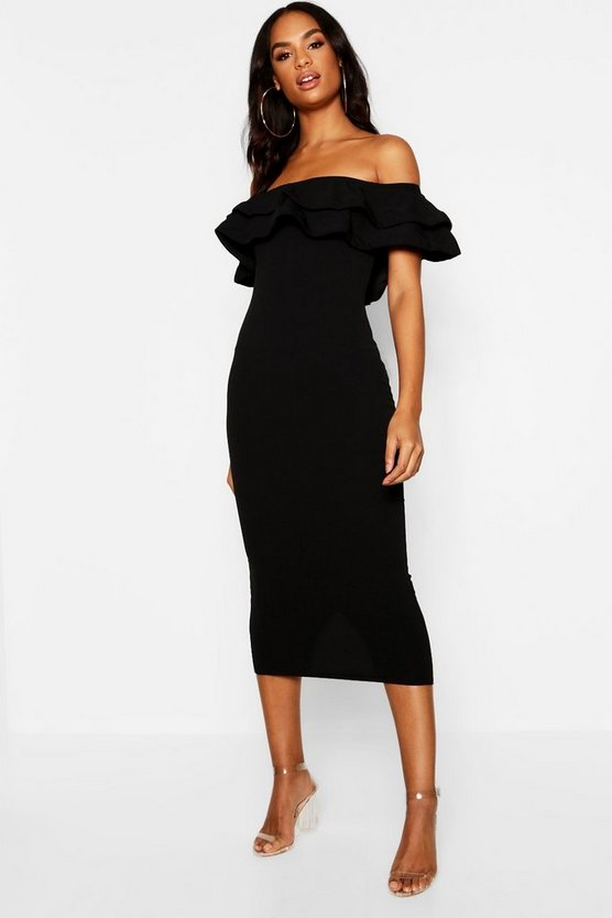 Womens Black Tall Ruffle Midi Dress