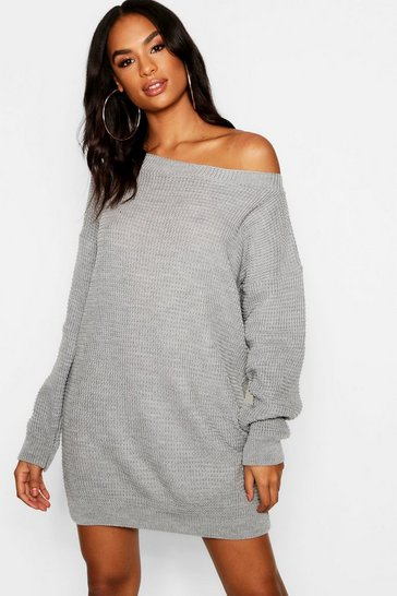 Womens Grey Tall Slash Neck Jumper Dress