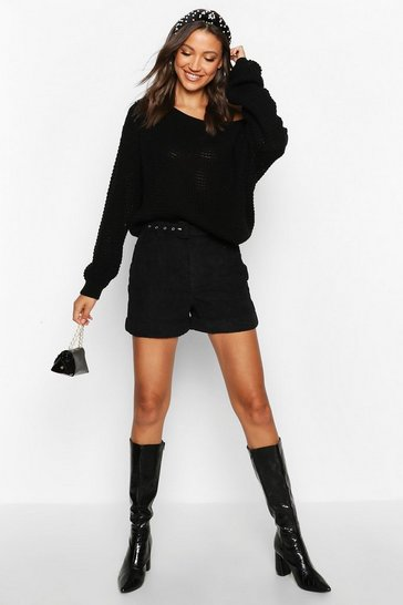 Womens Black Tall Slash Neck Crop Jumper