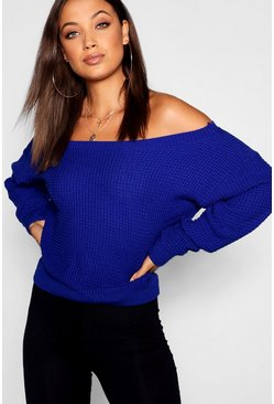 Womens Cobalt Tall Slash Neck Crop Jumper