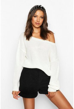 Womens Cream Tall Slash Neck Crop Jumper