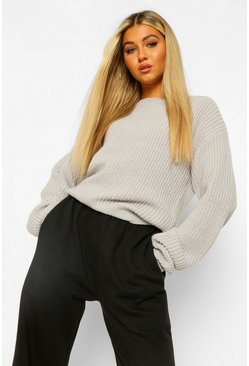 Grey Tall Crew Neck Crop Jumper