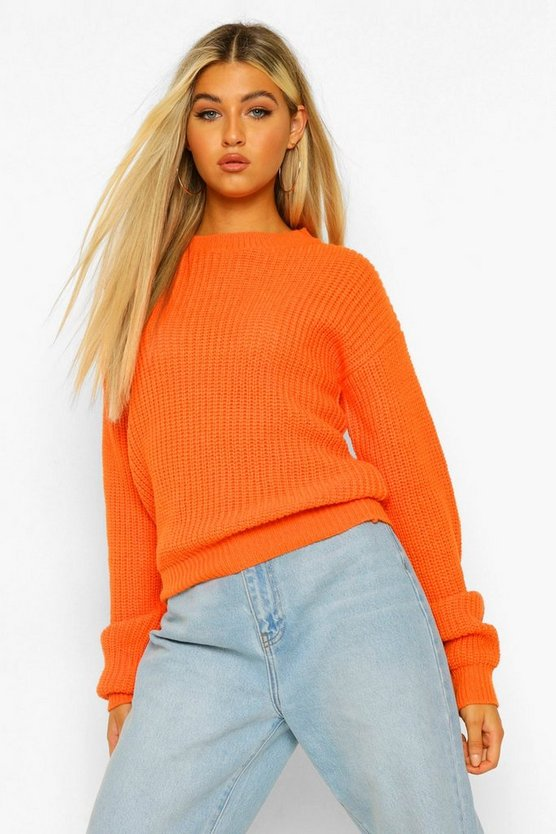 Pull court col ras du cou Tall, Orange, Femme