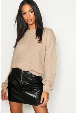 Womens Stone Tall Crew Neck Crop Sweater