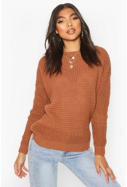 Terracotta Tall Crew Neck Crop Jumper