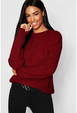 Womens Wine Tall Crew Neck Sweater