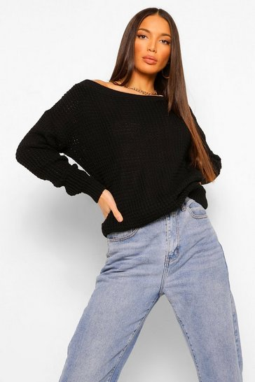 Womens Black Tall Slash Neck Jumper