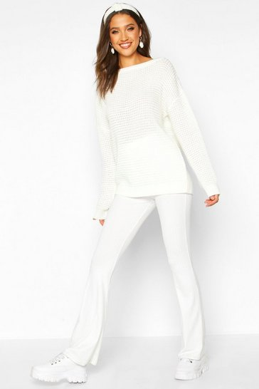 Womens Ecru Tall Slash Neck Jumper