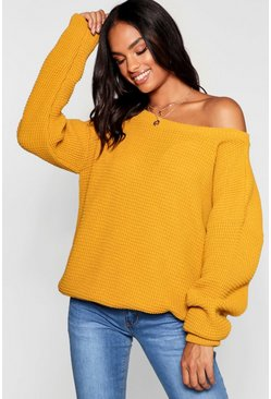 Womens Mustard Tall Slash Neck Jumper