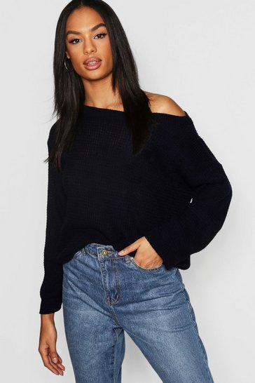Womens Navy Tall Slash Neck Jumper