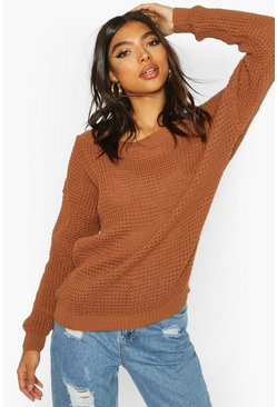 Toffee Tall Slash Neck Sweater