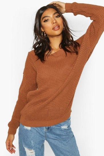 Toffee Tall Slash Neck Jumper