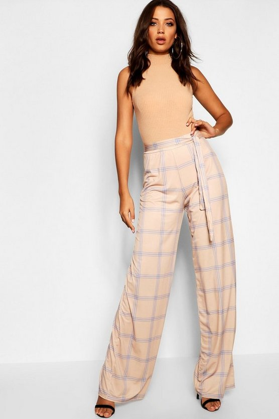 Tall Check Wide Leg Tie Waist Trouser