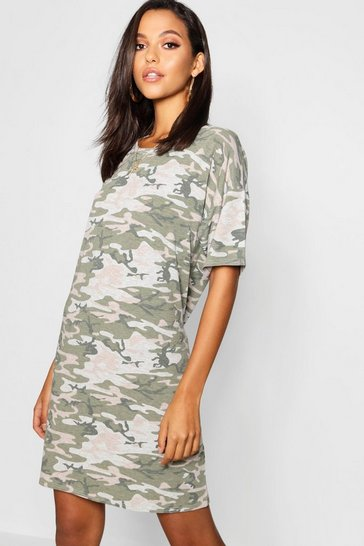 Womens Grey Tall Camo Oversized T-Shirt Dress