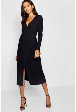Womens Black Tall Rib Wrap Jersey Dress