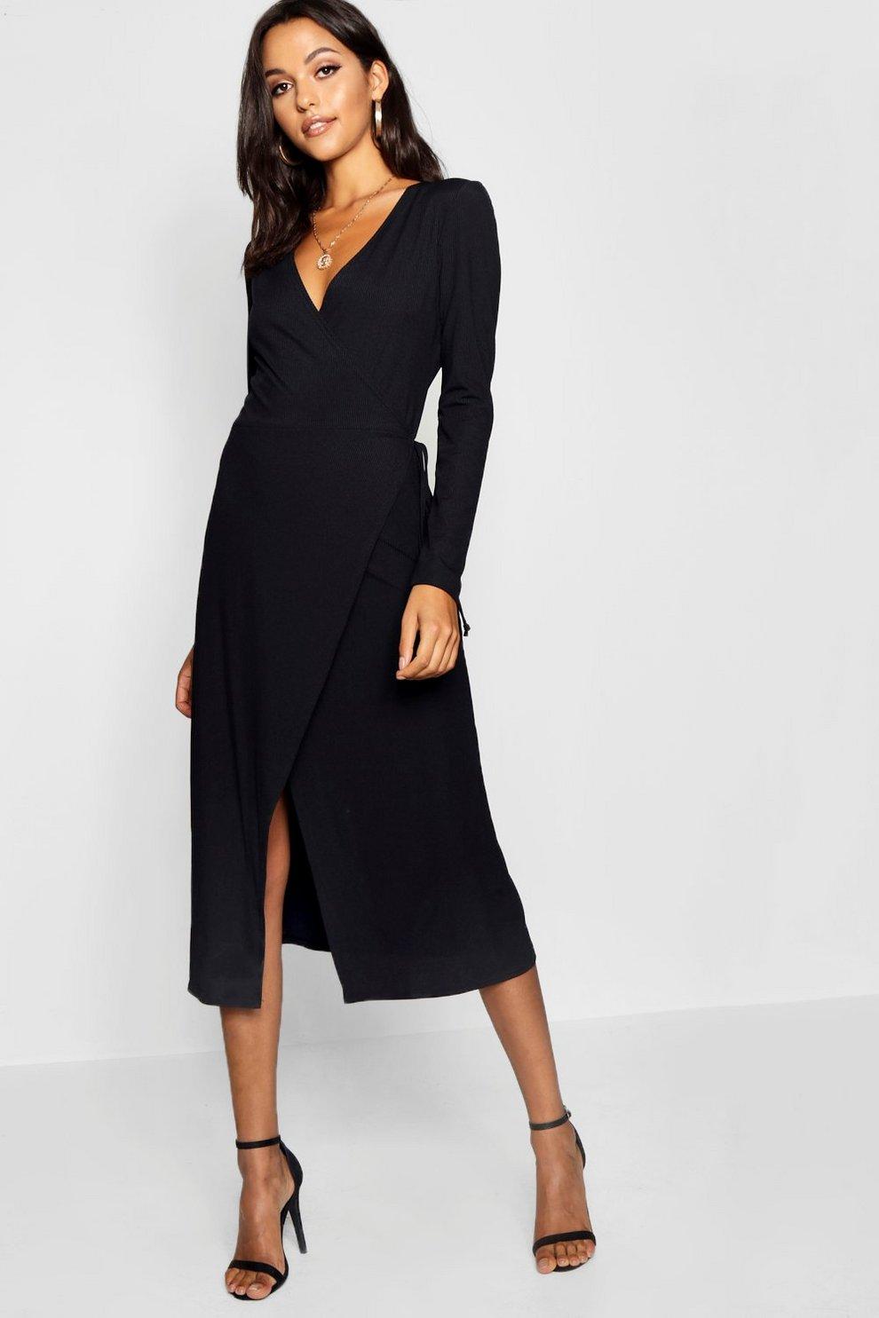 2c1d14f3e381900 Womens Black Tall Rib Wrap Jersey Dress