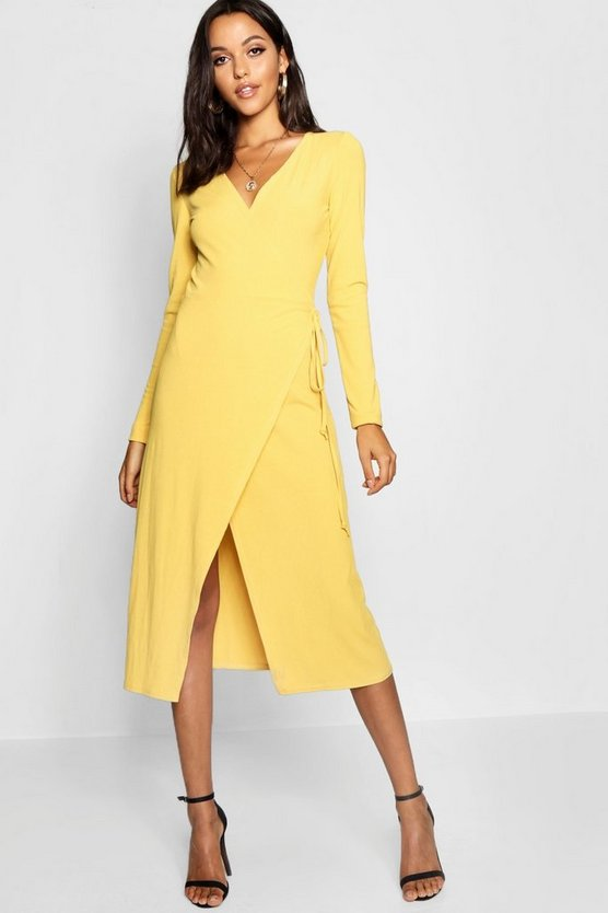 Womens Mustard Tall Rib Wrap Jersey Dress