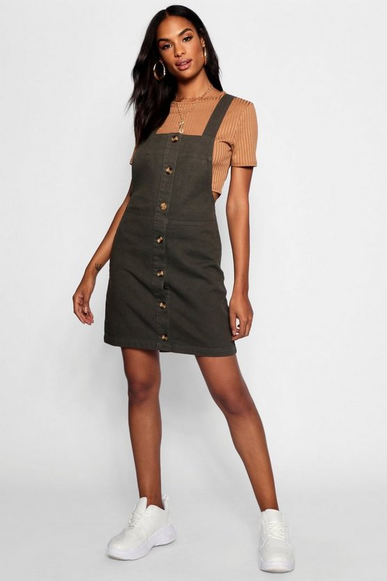 Tall Horn Button Through Denim Pinafore Dress