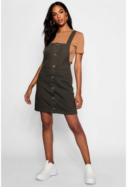 Womens Khaki Tall Horn Button Through Denim Pinafore Dress