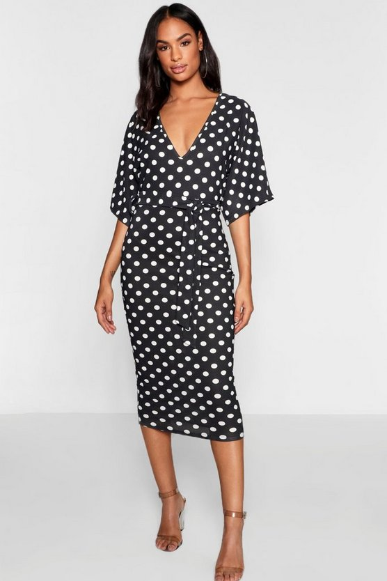 Womens Black Tall Polka Dot Tie Waist Wing Sleeve Dress