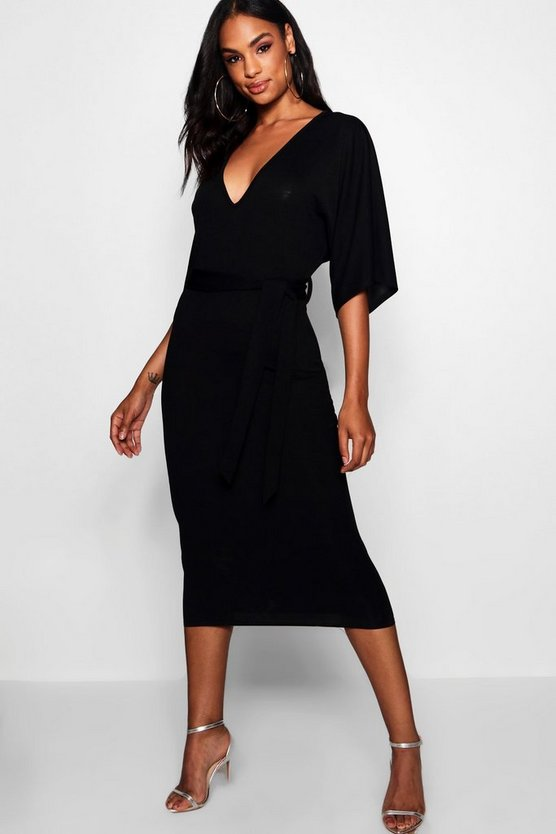 Womens Black Tall Tie Waist Batwing Dress