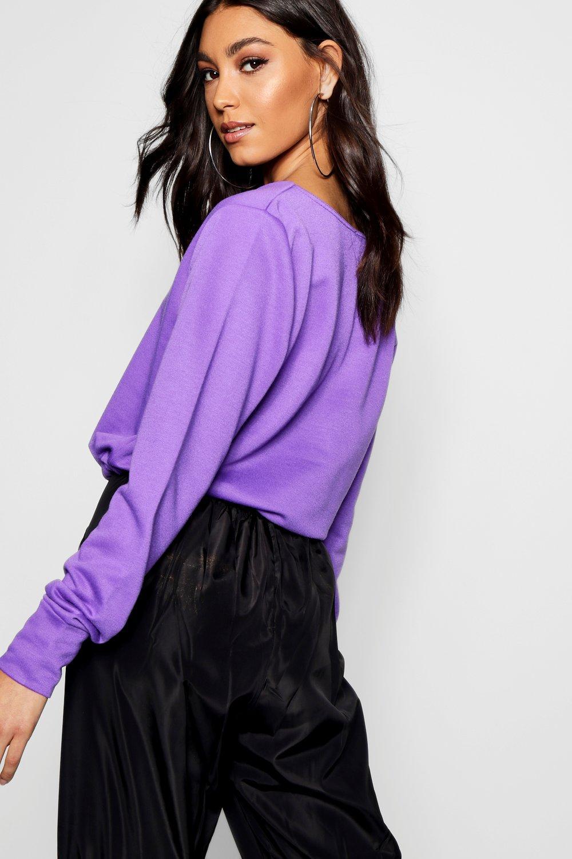 cuello corto con cordón Suéter y violeta V ajustable Tall UpqEP6w4