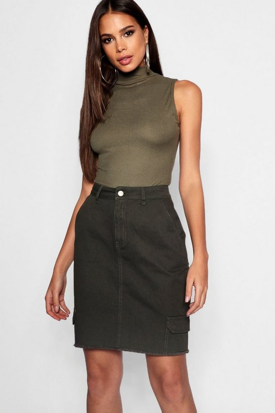Womens Khaki Tall Utility Denim Skirt