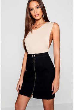 Black Tall Zip Through Denim Mini Skirt