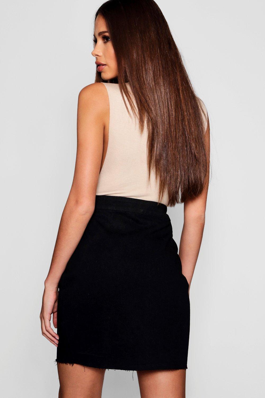 negro en Tall cremallera de con denim cierre Minifalda 40wqf8xf