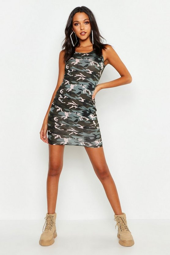 Womens Khaki Tall Camo Print Mini Dress