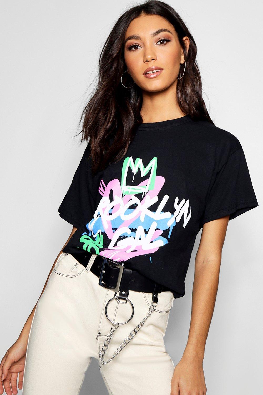 Tall T shirt Slogan Graffiti black qqzOPw