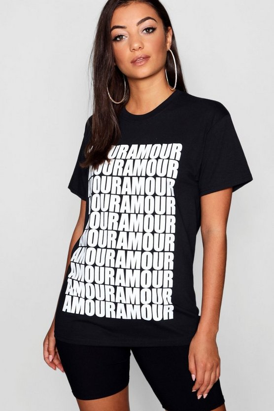 Womens Black Tall All Over Amour Slogan T-Shirt