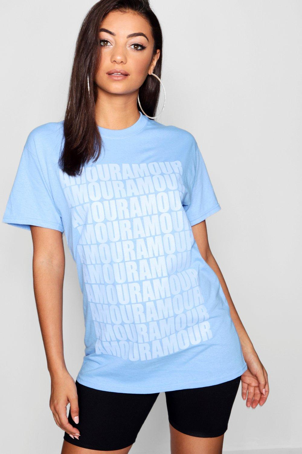 Slogan blue All T Amour Tall Over Shirt UYFqt1SAw